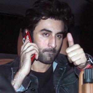 PIX: Ranbir watches Sanju with Sanjay Dutt
