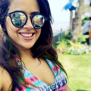 Sameera Reddy shows off her baby bump