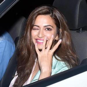 PIX: Kriti watches Housefull 4 with Kriti
