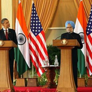 Obama stays away from 'K-word', PM doesn't