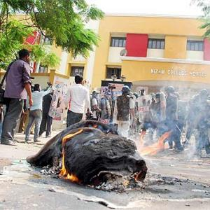 IMAGES: Telangana students' rally turns violent