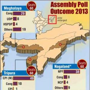 Left WINS Tripura; Cong in Meghalaya, NPF in Nagaland