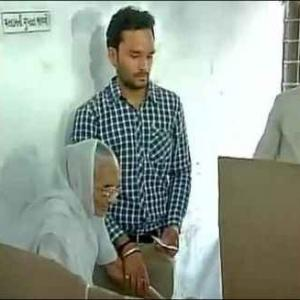 First look: Modi's octogenarian mother casts her vote