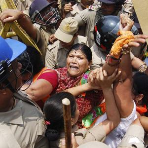 Badaun sisters' rape: Police fire water cannons at BJP protesters