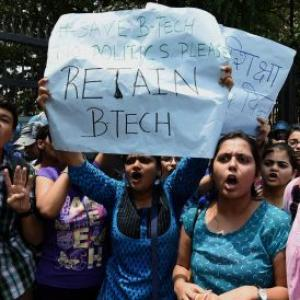 DU BTech students protest against scrapping of course