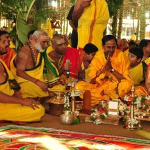 PHOTOS: In drought-hit Telangana, KCR's Rs 7-crore puja