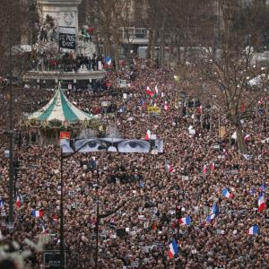 'Freedom, freedom Charlie,' chants Paris at 'unity march'