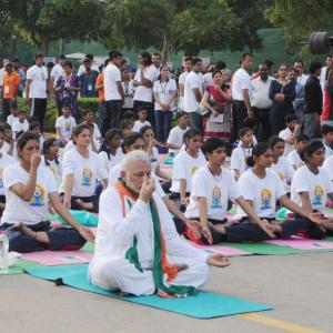 PHOTOS: Top 12 'asanas' that Modi practised on Yoga Day