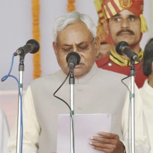 Nitish takes oath as Bihar CM, Lalu's son his deputy