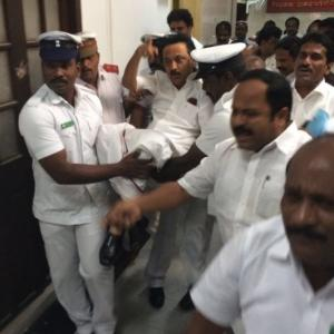 Stalin, all DMK MLAs thrown out of TN assembly