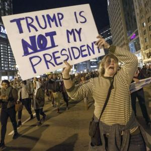 'NOT MY PRESIDENT' protests rage on in US
