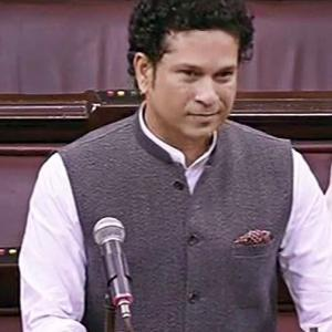 Sachin's first speech in Rajya Sabha drowned out by Congress members