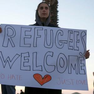 'Refugees welcome here': Protesters rally across US