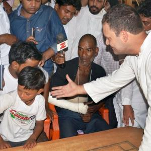 Denied entry to town, Rahul meets clash victims at Saharanpur border