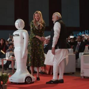 Mitra, the robot, steals the show from NaMo, Ivanka