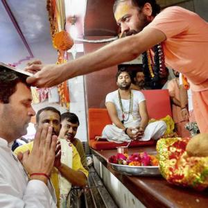 To counter BJP-RSS' Hindutva, Rahul visits temples in Gujarat