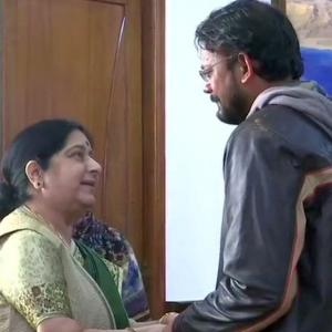 'Meri madam mahaan': Freed Indian Hamid Ansari meets Sushma