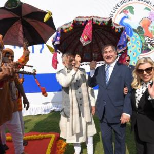 Roadshow, flying kites, visit to Sabarmati Ashram: Netanyahus in Gujarat