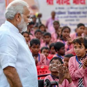 On 68th birthday, Modi gives pep talk to young school children in Varanasi