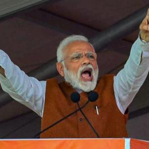 Modi takes a swipe at Naidu as TDP protests his visit