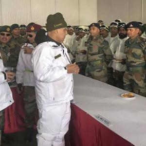 Defence Minister Rajnath Singh meets troops in Siachen