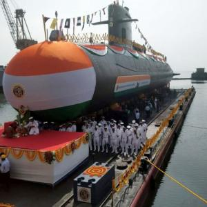 Navy launches 4th Scorpene class submarine