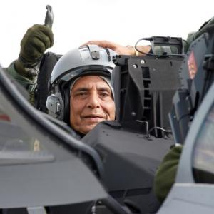 Rajnath flies on India's first Rafale jet in France