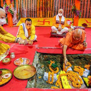 PM Modi lays first brick for Ram temple in Ayodhya