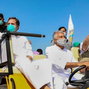 Rahul leads tractor rally in Punjab against farm laws
