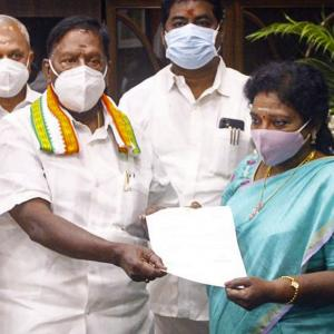 Puducherry twist: Narayanasamy quits before trust vote