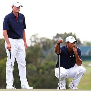 Presidents Cup: Woods, Stricker crash but US in command