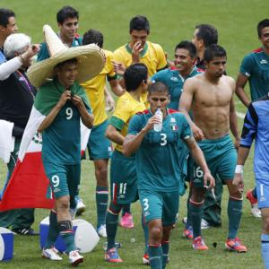 Football: Peralta double helps Mexico shock Brazil