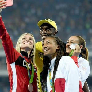 PHOTOS: Bolt celebrates with other champs!