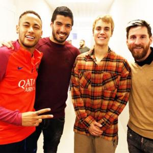 Justin Bieber trains with Neymar at FC Barcelona
