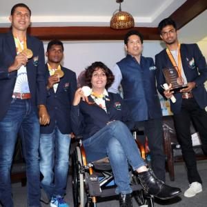PHOTOS: Tendulkar felicitates Indian Paralympics medal winners