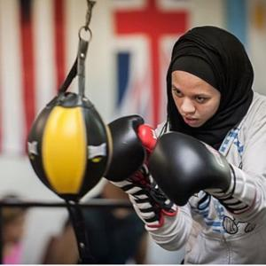 This boxer in fighting in hijab