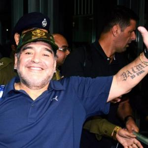 First Look: Maradona arrives in Kolkata sans fan-frenzy