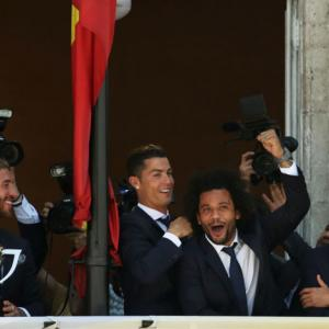 PHOTOS: La Liga champs Real Madrid felicitated by local govt offices