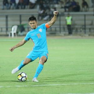 I don't celebrate outrageously, says Chhetri after third 'trick'
