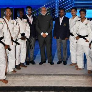 PIX: PM Modi attends judo tournament with Putin, Abe