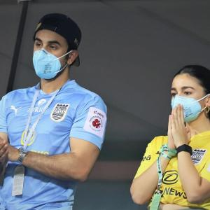 ISL PICS: Ranbir-Alia support MUFC from stands!