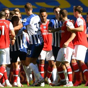 EPL PIX: Arsenal sunk by Brighton, Leicester held