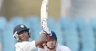 India bag three England wkts after Pujara's double ton