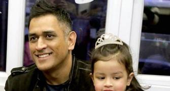 After batting heroics, Dhoni back to daddy duty