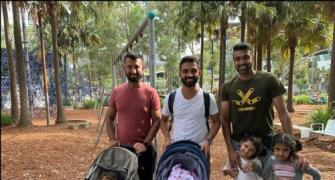 PICS: Pujara, Ashwin, Rahane enjoy 'daddy duty'