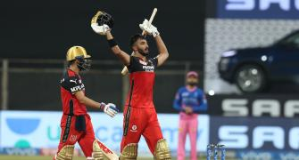 PICS: Padikkal hits 101 as RCB whip Rajasthan Royals
