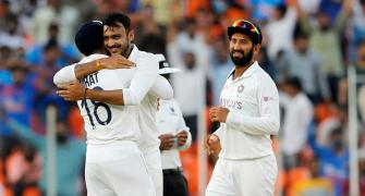 Axar, Rohit put India on top in pink-ball Test