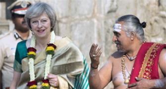 Hit or Miss? British PM Theresa May in a sari!