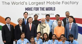 Modi inaugurates world's largest mobile phone factory in Noida