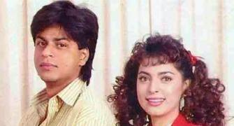 Which film were SRK, Juhi shooting for?